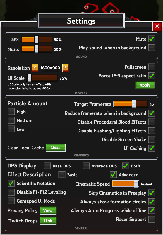 Idle Champions of the Forgotten Realms Idle Champions Tweaking - In-Game Settings