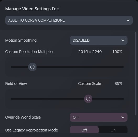 Assetto Corsa Competizione Guide for SteamVR Settings + Graphics + Config in Game - SteamVR Settings - 1D903C9