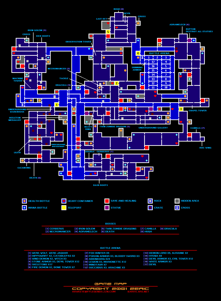 Castlevania Advance Collection List of All Collectible Items + Map Location Guide - Items & Bosses - 1571059