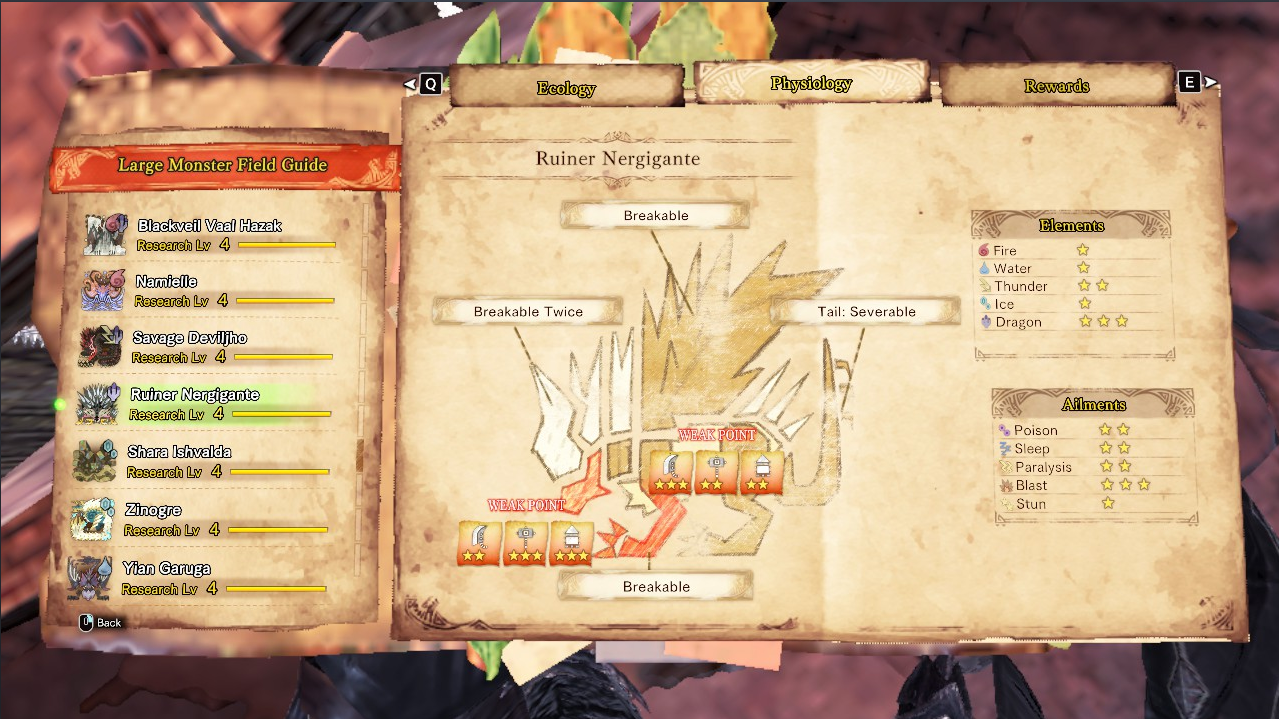 Monster Hunter: World Damage Types + Status Attacks + Weapon Stats - Monster Hitzone Values - 7921453