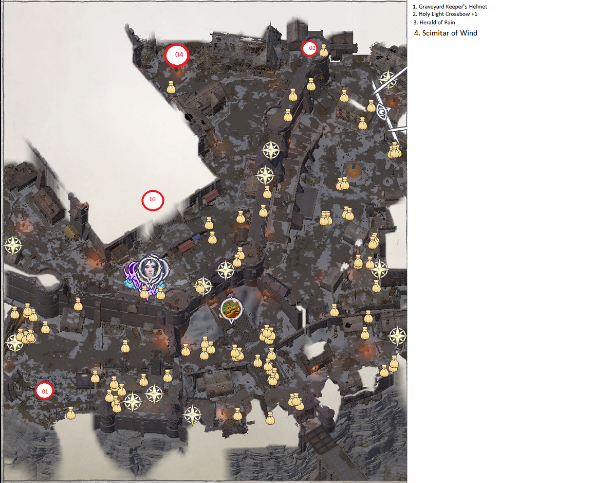 Pathfinder: Wrath of the Righteous All Items Location in Cave Map Guide - Ch. 2 Item Locations - 24C4D20