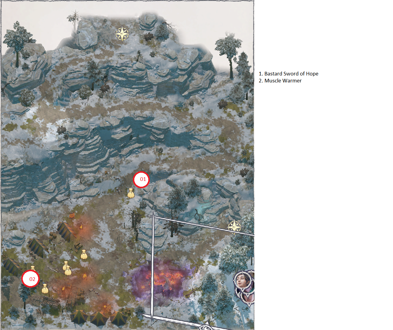 Pathfinder: Wrath of the Righteous All Items Location in Cave Map Guide - Ch. 2 Item Locations - 26057D0