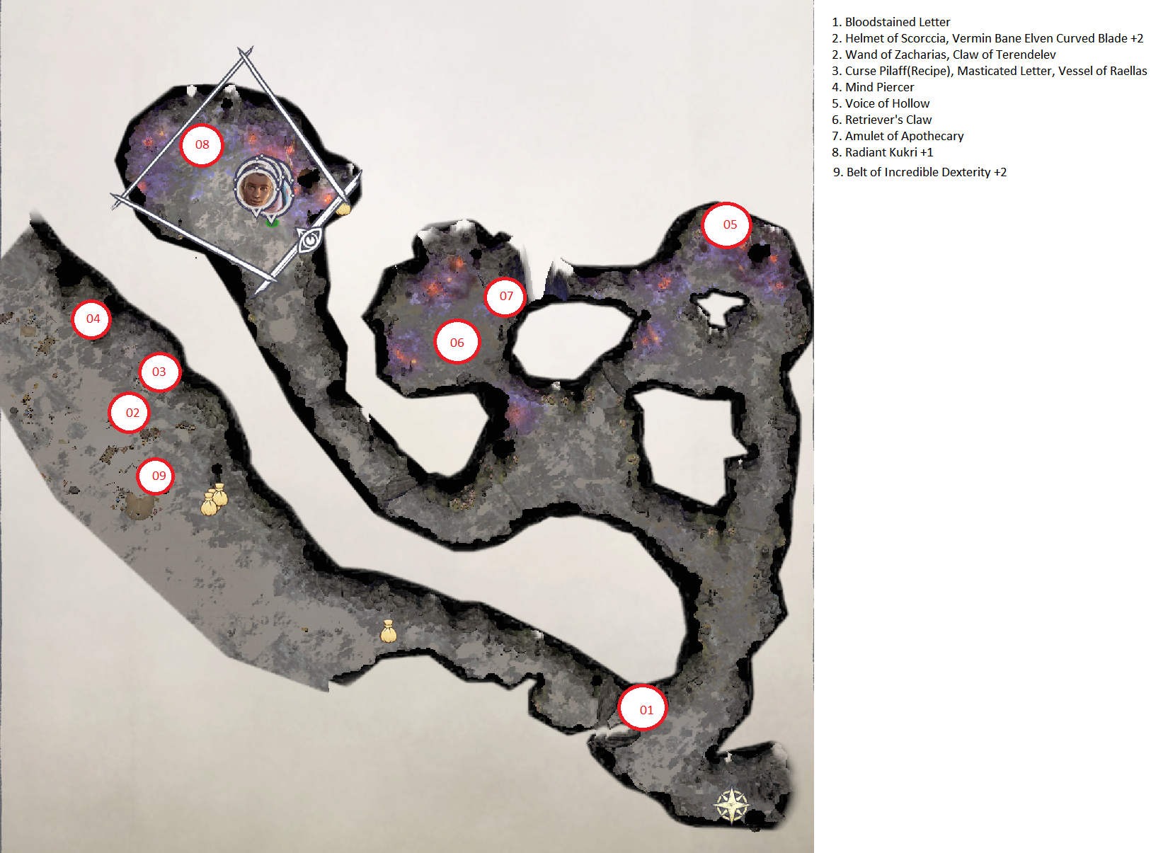 Pathfinder: Wrath of the Righteous All Items Location in Cave Map Guide - Ch. 2 Item Locations - 50FF08A