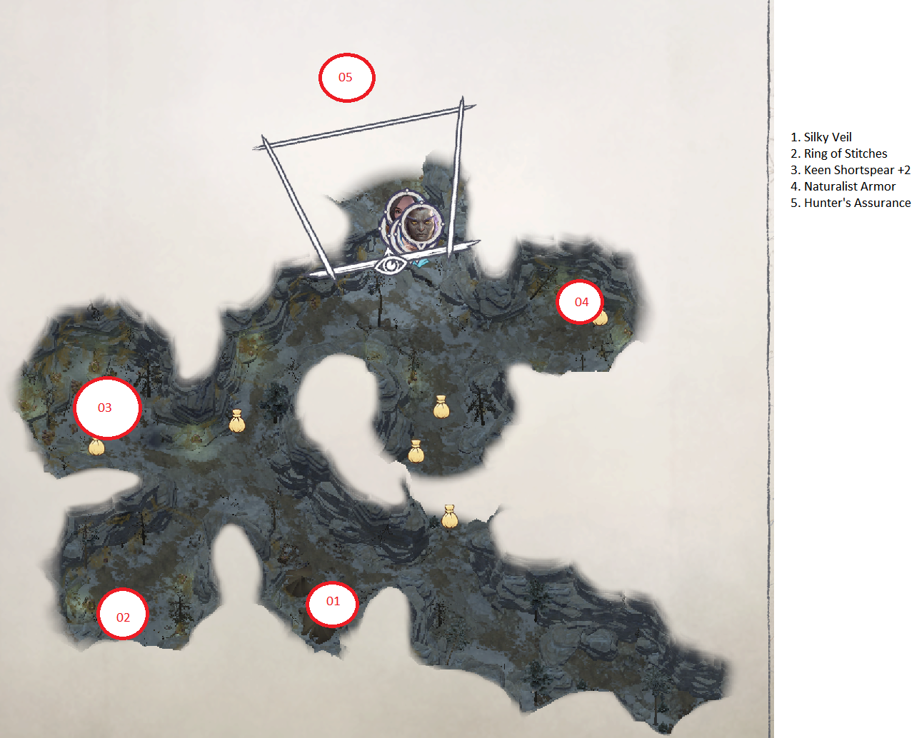 Pathfinder: Wrath of the Righteous All Items Location in Cave Map Guide - Ch. 2 Item Locations - 9782155