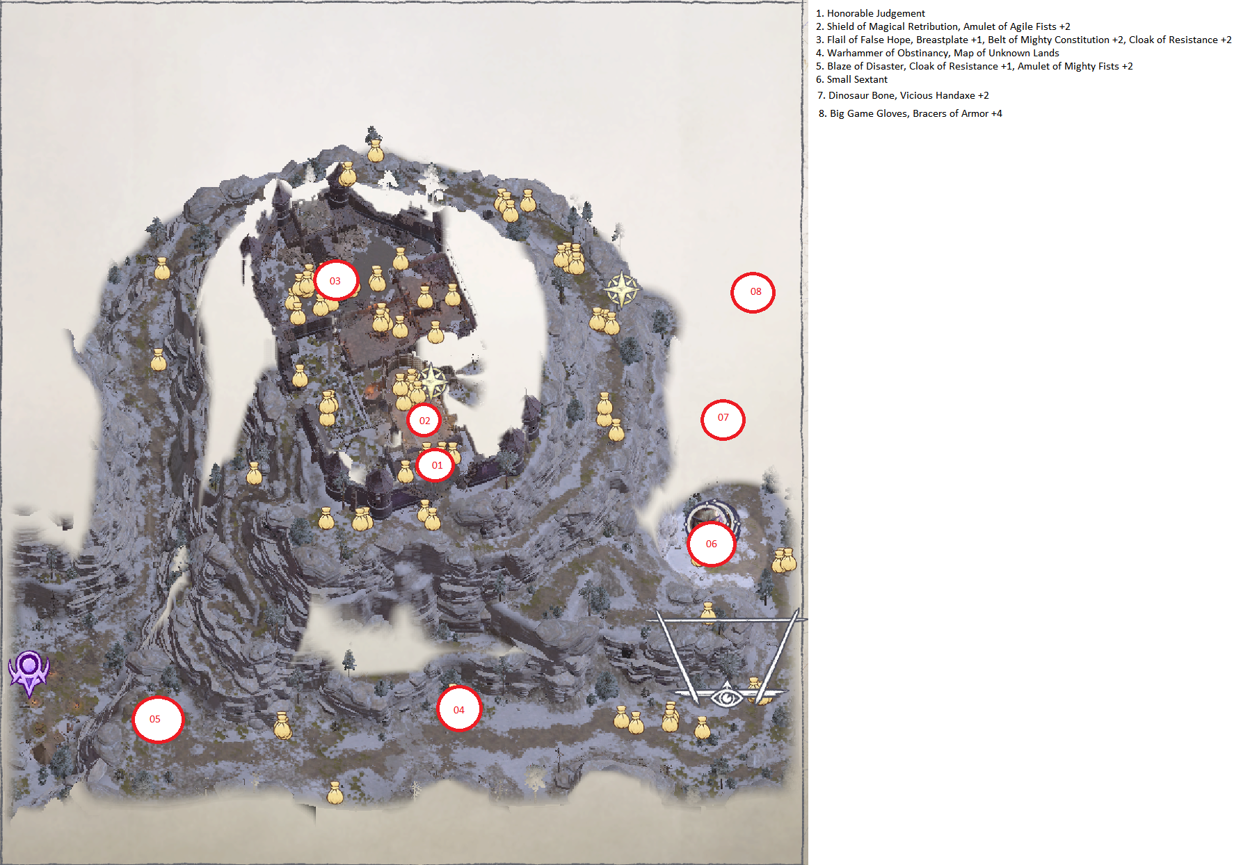 Pathfinder: Wrath of the Righteous All Items Location in Cave Map Guide - Ch. 2 Item Locations - 9AD915C
