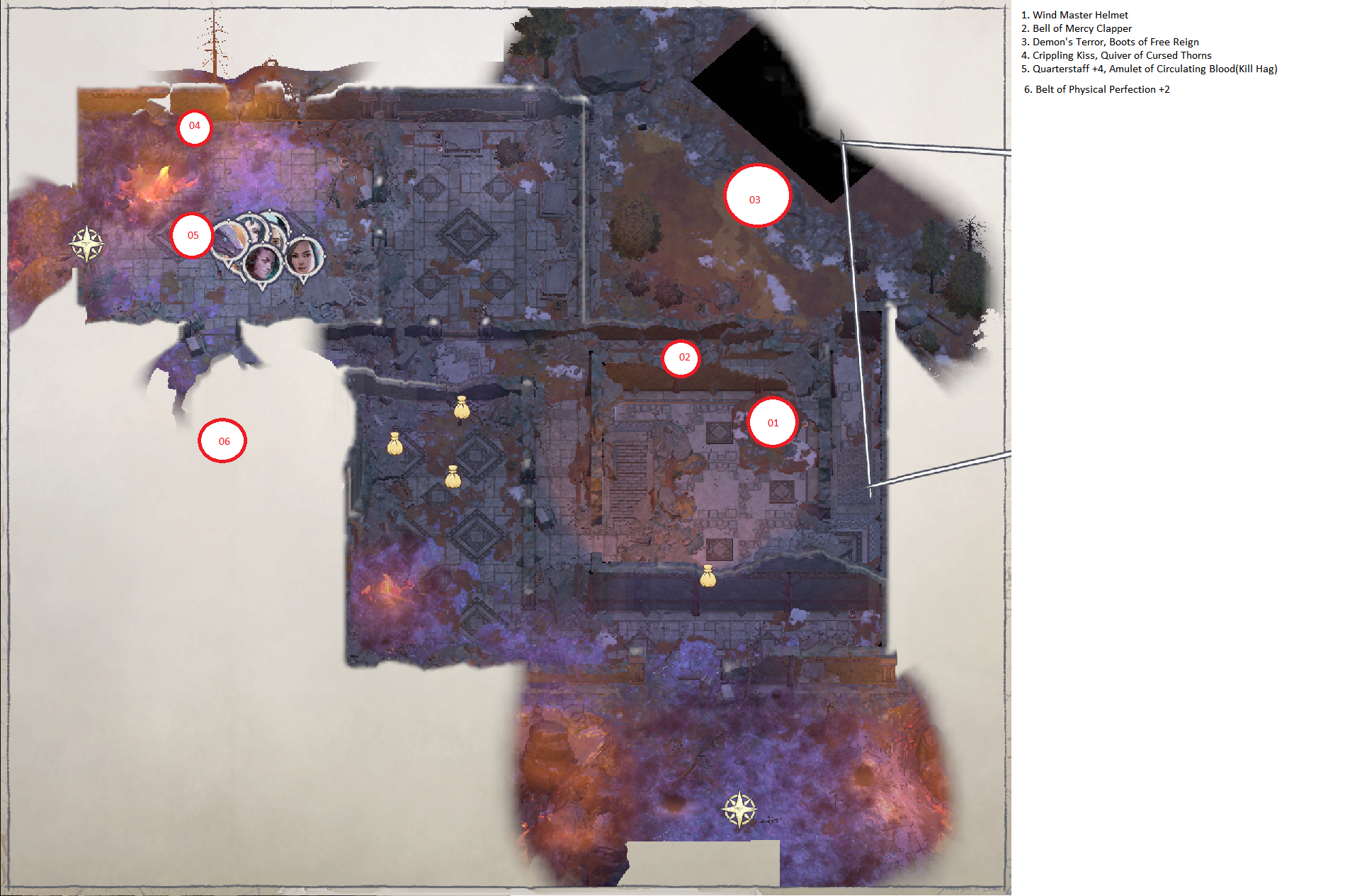 Pathfinder: Wrath of the Righteous All Items Location in Cave Map Guide - Ch. 3 Item Locations - 50A7FC9
