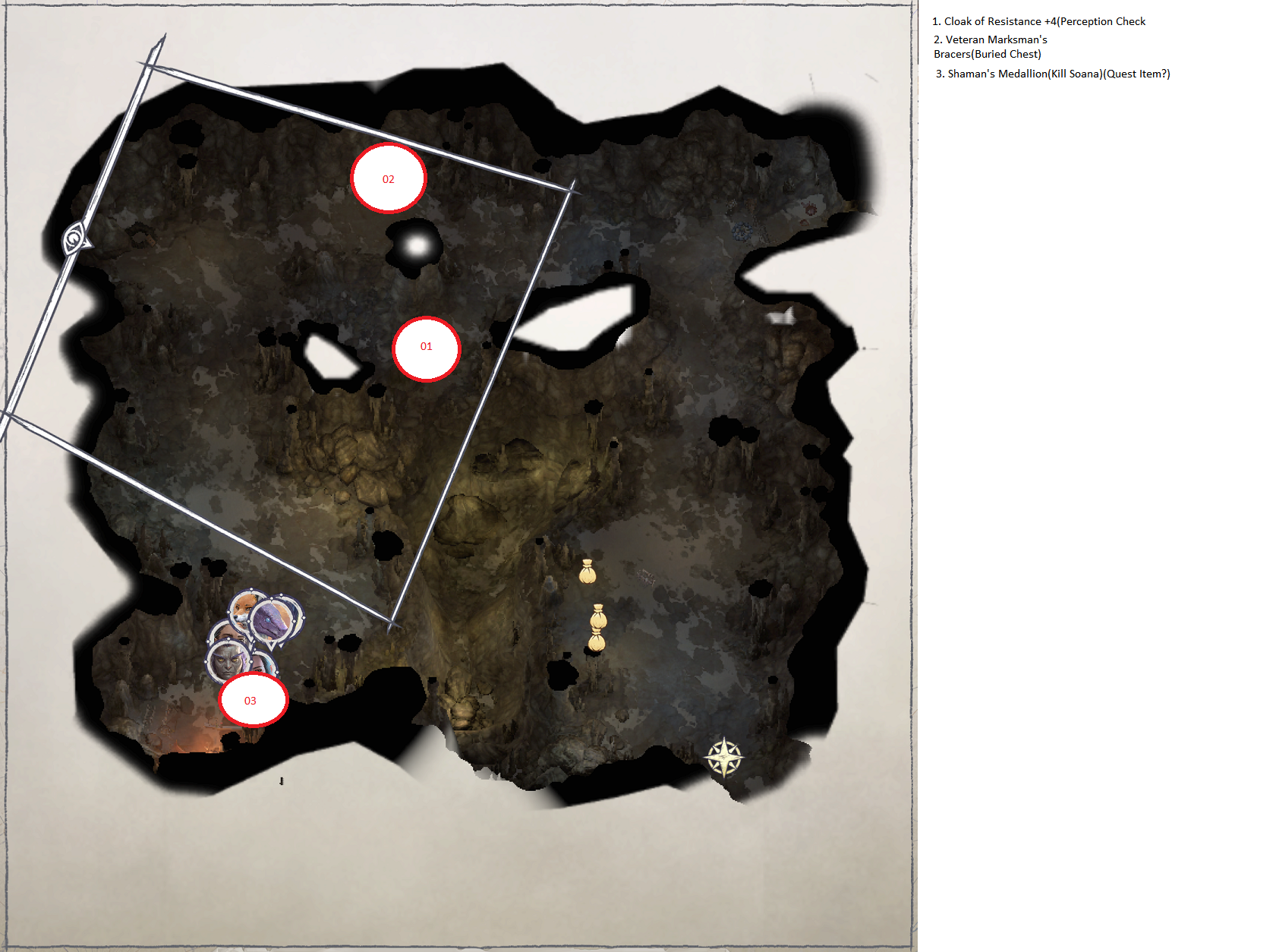 Pathfinder: Wrath of the Righteous All Items Location in Cave Map Guide - Ch. 3 Item Locations - 67DE95A