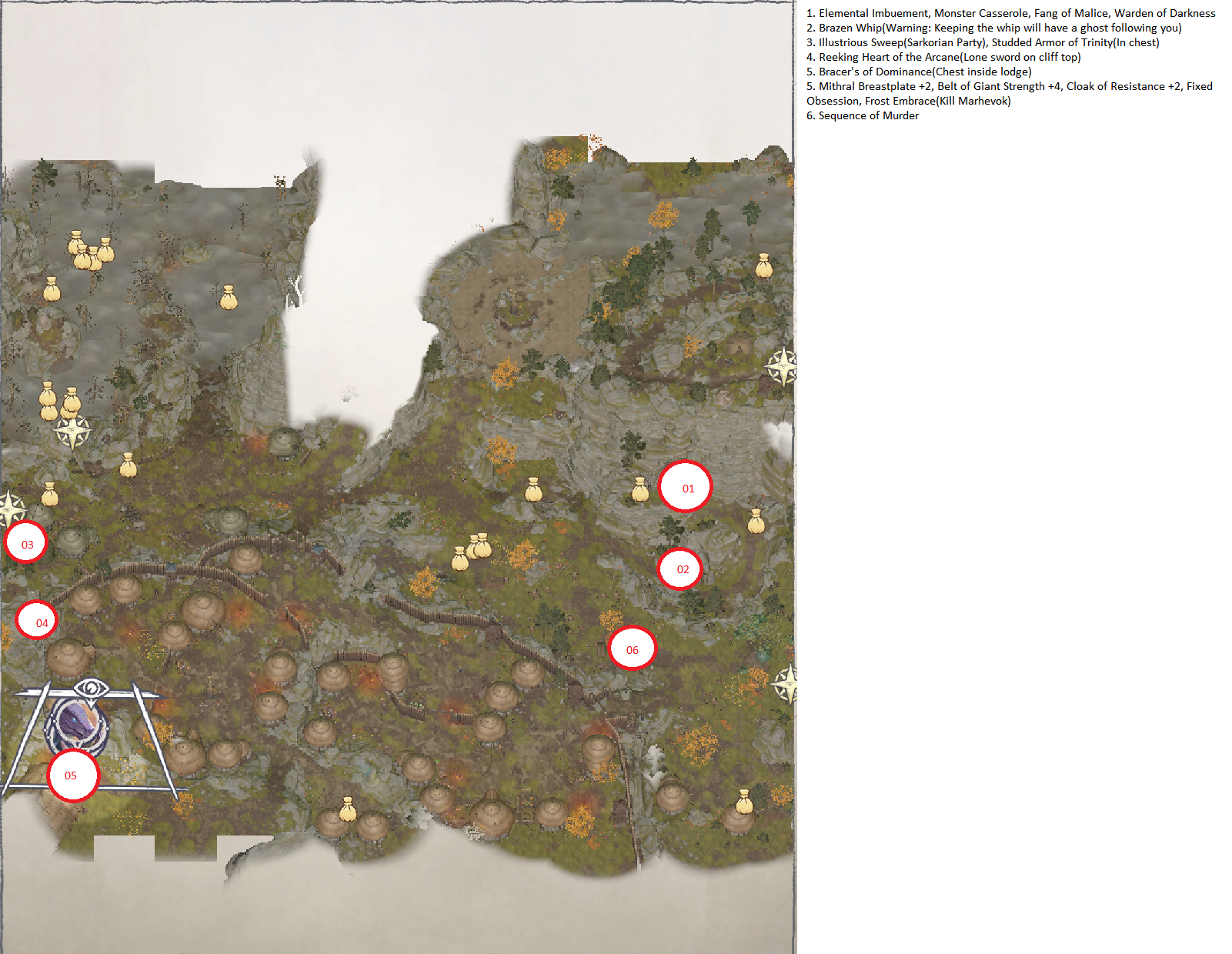 Pathfinder: Wrath of the Righteous All Items Location in Cave Map Guide - Ch. 3 Item Locations - CF5D67D