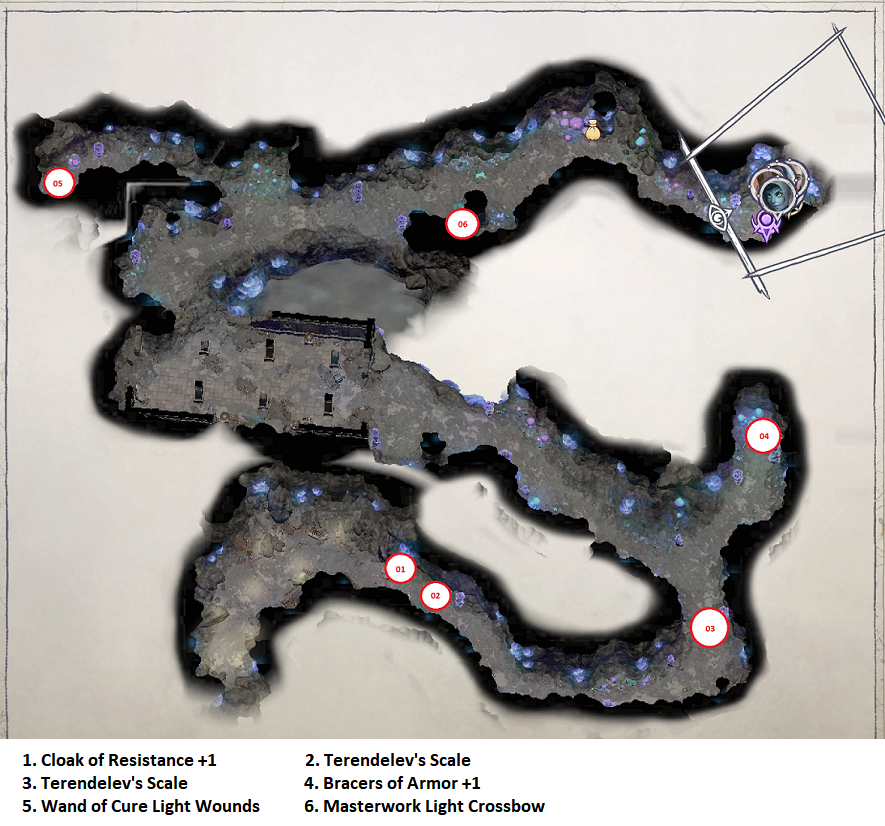 Pathfinder: Wrath of the Righteous All Items Location in Cave Map Guide - Item Locations - 84A8378